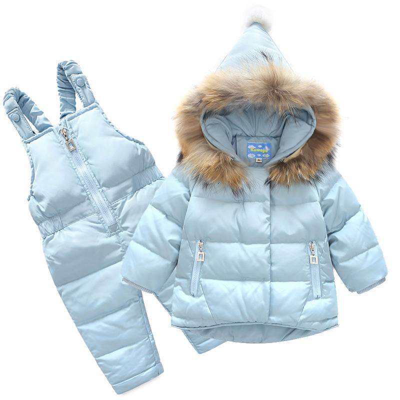 bottom price highly coveted range of 100% high quality Winter Baby Girl Clothes Set Duck Down Children Jacket Girl Coat 2017  Overalls Warm Waterproof Jacket Ski Kid Clothing Set IY60 Toddler Down  Parka ...