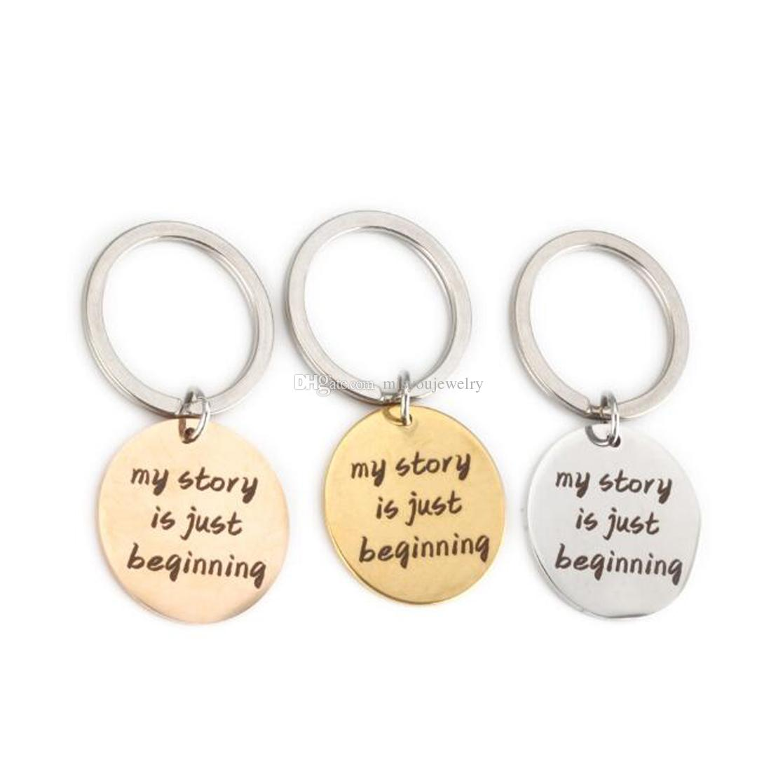 my stories is just beginning Inspired Necklace Keychain,stainless Silver gold rose gold Round,Depression Awareness Semicolon Jewelry