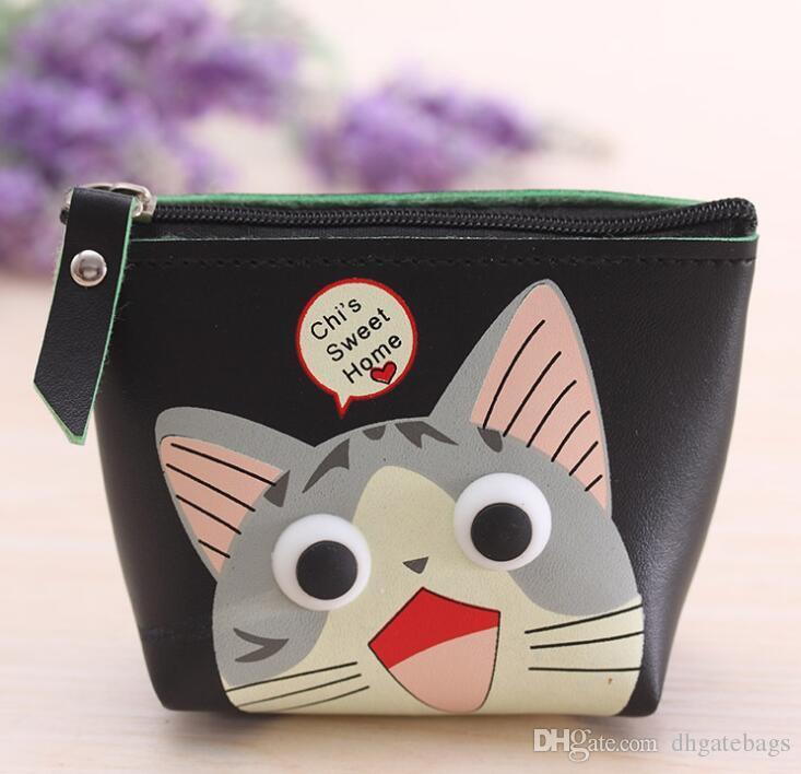 Kore tarzı büyük gözleri bozuk para cüzdanı sevimli karikatür çocuk kadın su geçirmez cüzdan Doraemon fermuar para değişim cüzdanlar