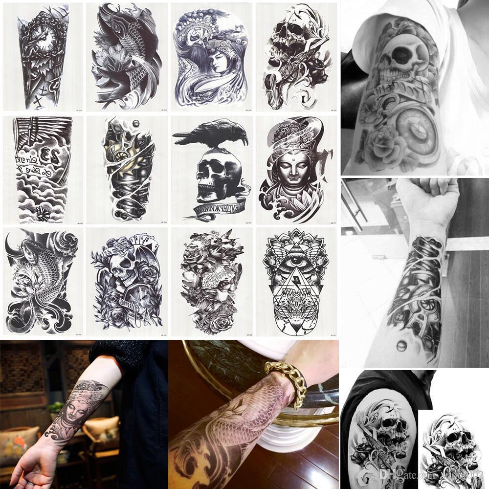 12 Adet / grup 3D Su Geçirmez Vücut Kol Bacak Sanat Dövme Etiket Yakışıklı Tatouage Glitter Siyah Geçici Dövmeler Dövme Büyük 210 * 150mm