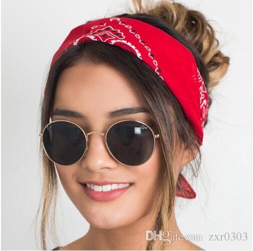 Frauen Haarschmuck Leinen Bandana haarband Schal Quadrat Weibliche Bandanas Headwear Rock Cool Girls Multi Stirnbänder