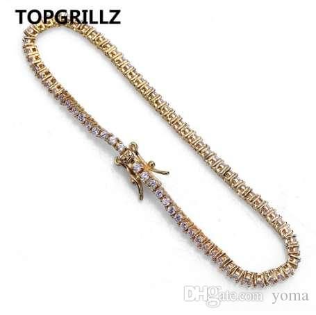 TOPGRILLZ Hip Hop 2mm Men 1Row Tennis Chain Bracelet Gold Color Iced Out Micro Pave Lab D Stud Earrings With Screw Back For Gift