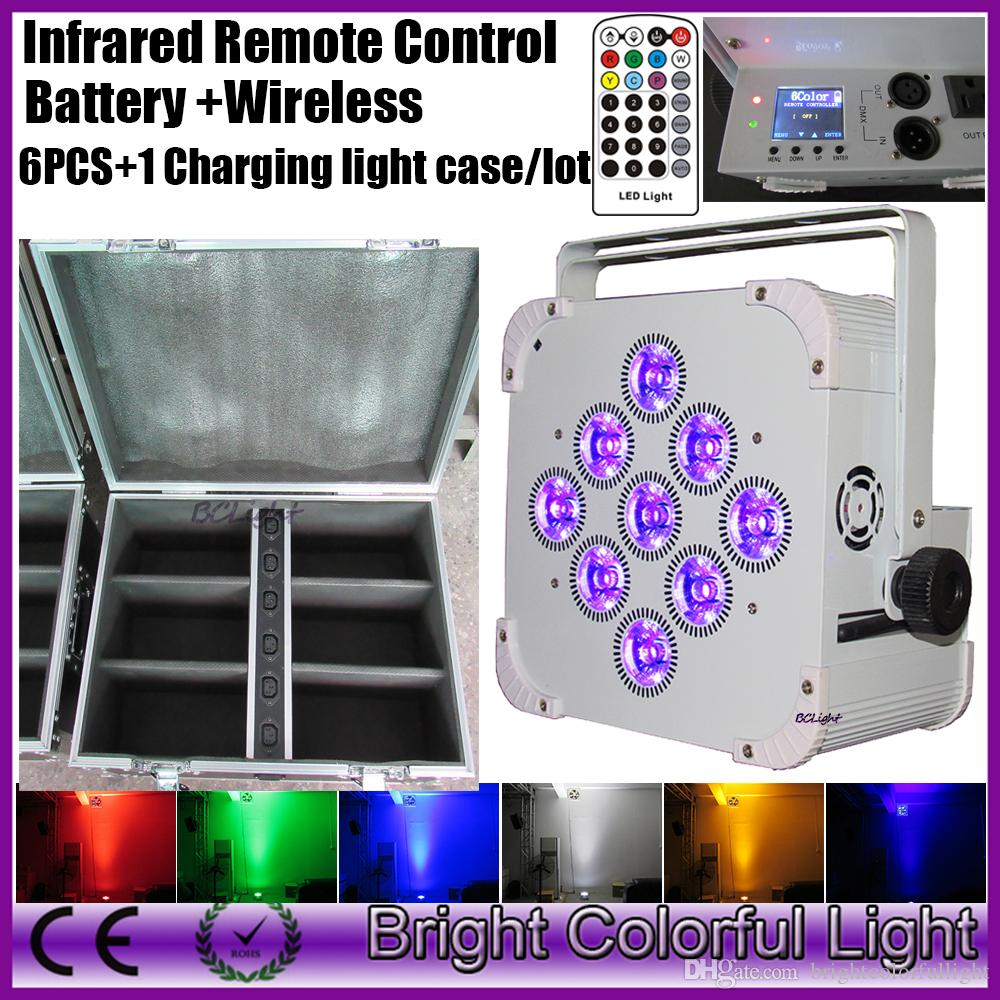 6XLOT with flight case infrared remote control wireless dmx battery power led lighting led wash uplight for wedding&fancy