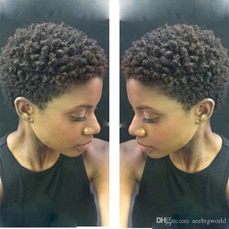 caliente nuevo brasileño pelo afroamericano corto rizado peluca simulación del pelo humano corto rizado peluca en stock