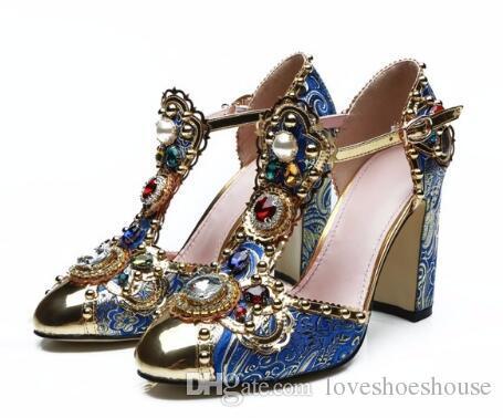 Rhinestone de lujo Tacones altos Zapatos de boda T-Correa Bloque Tacones Mujeres Zapatos Metal Redondo Tobillo Hebilla Mujeres Bombas