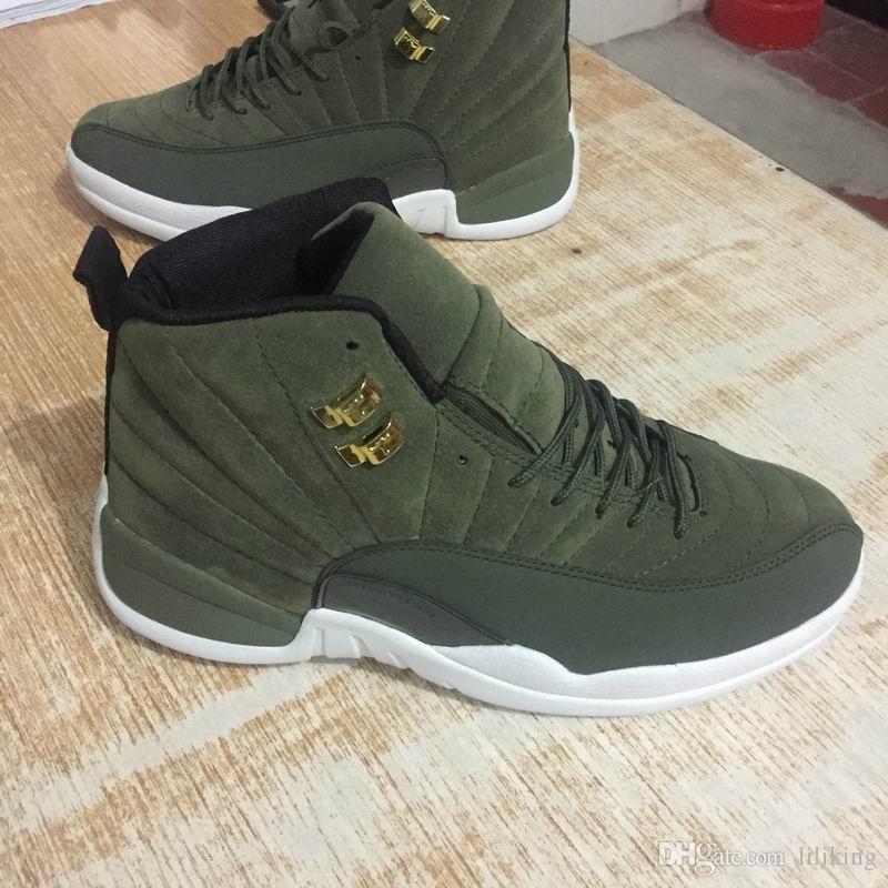 quality design 37540 0ec81 2019 2018 12s Army Green Mens Shoes Pinnacle Metallic Michigan 12 Vachetta  Tan Michigan Doernbecher College GS Barons Game Basketball Shoes From ...