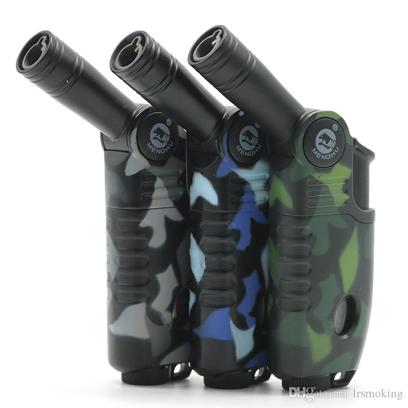 Crective Rotatable sprinkler head Single Torch pipe lighters smoking jet flame lighter Camouflage color Free shipping