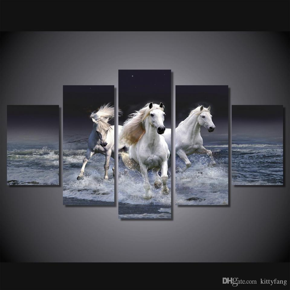 5 Pcs/Set Framed HD Printed Animal White Horse Wall Art Canvas Print Poster Canvas Pictures Abstract Oil Painting