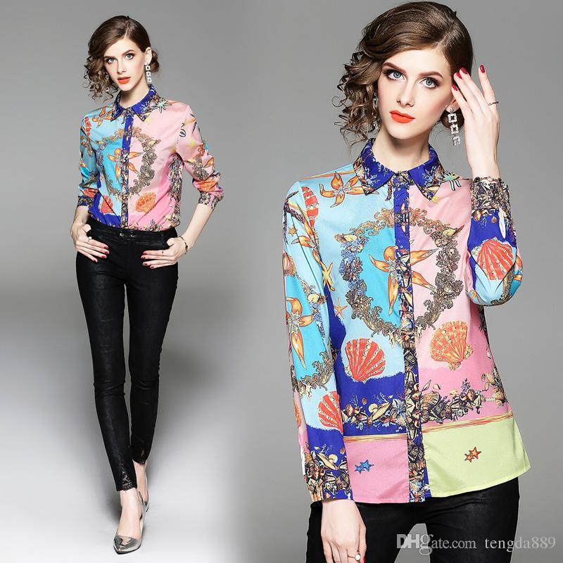 2018 Güz Pist Vintage Çiçekli Baskı Yaka OL Womens Bayanlar Casual Ofis Düğmesi Ön Uzun Kollu Lüks Gömlek Bluz Yeni Tops