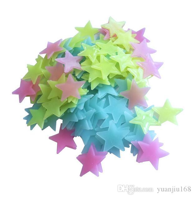 Glow Wall Stickers Decal Baby Kids Bedroom Home Decor Color Stars Luminous Fluorescent 4colors GA83