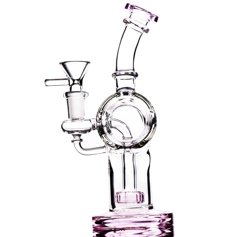 Vendita calda colorata fumatori Bong collo piegato colorato Bubbler grande anello colorato economico Recycle Bowl il tubo di fumo 14mm tubi di raccordo acqua