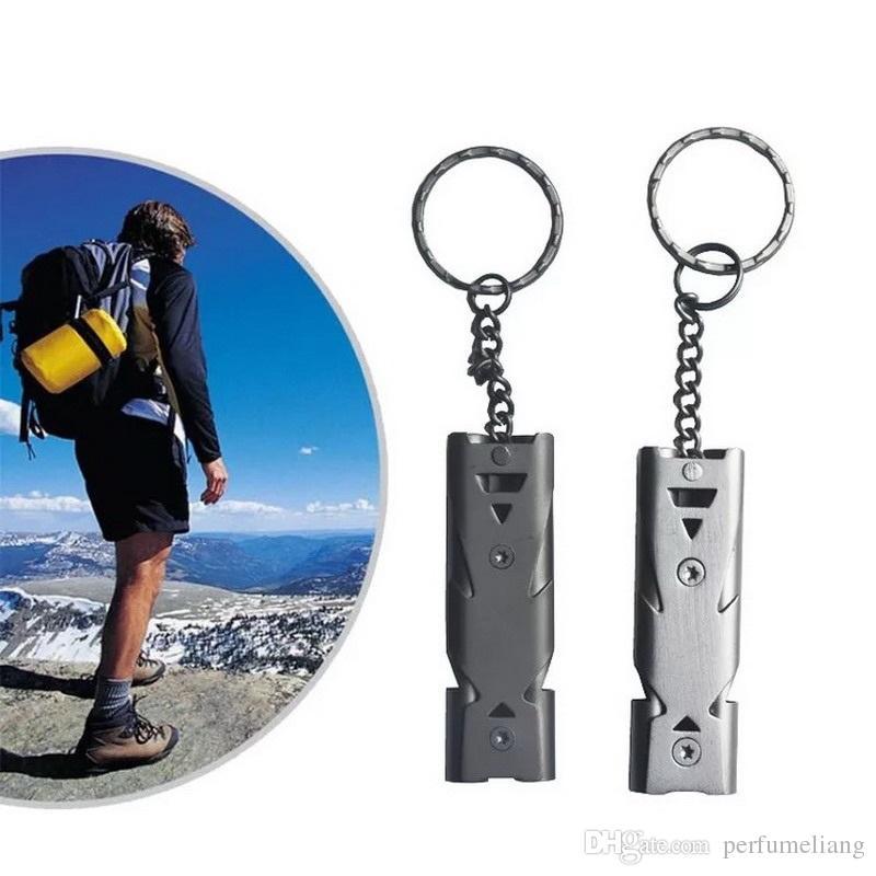 Notfall Überleben Doppelkanal Pfeife Schlüsselanhänger für Wandern Camping Outdoor Sports Werkzeuge EDC getriebe Pet Training Stoppen Bellen