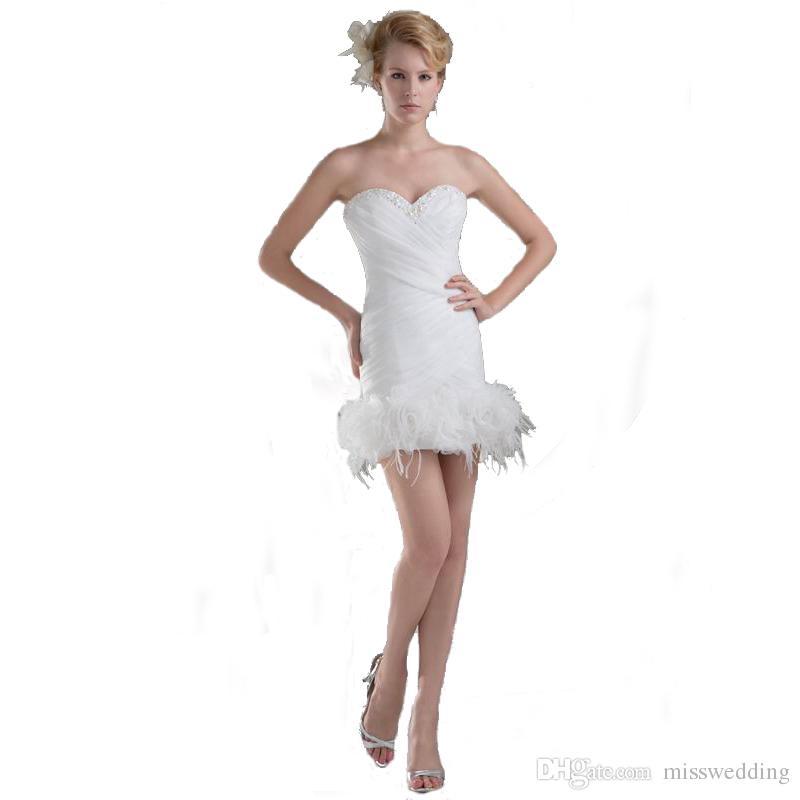 Precio competitivo de la envoltura del diseño de la envoltura 2018 Vestido de novia de las señoras de la rodilla con el vestido de novia del estilo del amor de la piel Precio competitivo