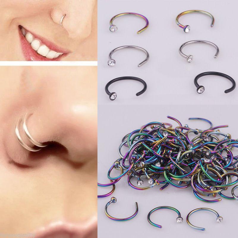 Piercing corpo umano a forma di c in acciaio inox strass naso anello naso chiodo falso naso anello gioielli all'ingrosso