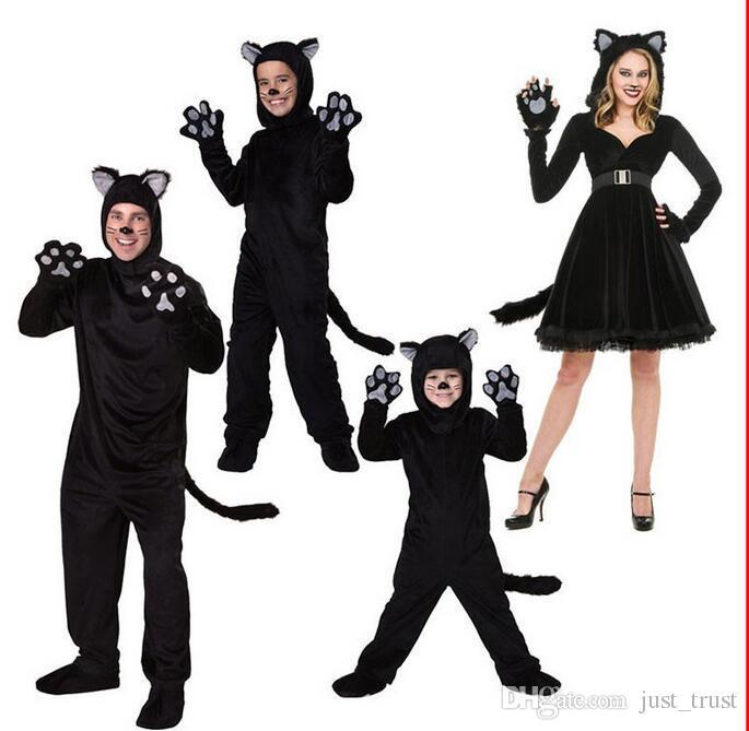 뜨거운 판매 사랑스러운 검은 팬더 동물 부모 - 자식 bodysuit 의상 재미 있은 할로윈 검은 고양이 롤 플레이 정장 코스 프레 작은 노란 rolepley
