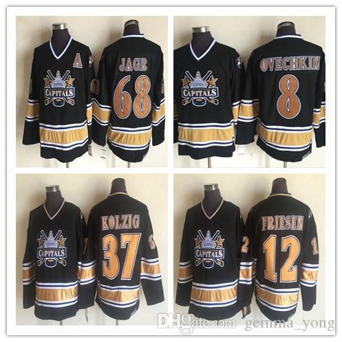 Herren 1990 Vintage Washington Capitals Eishockey 37 LANGWAY KOLZIG 12 JEFF FRIESEN 32 DALE HUNTER 8 Ovechkin 68 JAGR Schwarz Retro CCM Trikots
