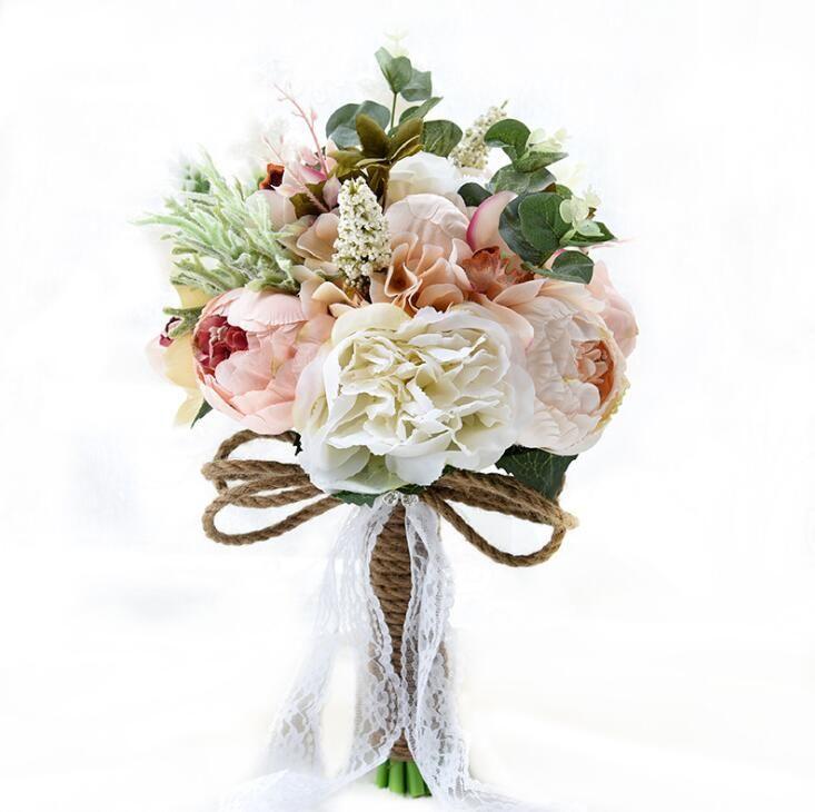 Bouquet de mariage fleur artificielle pivoine rose oeillet fleur de soie bouquet mariage décor mariée bouqurt fausse fleur