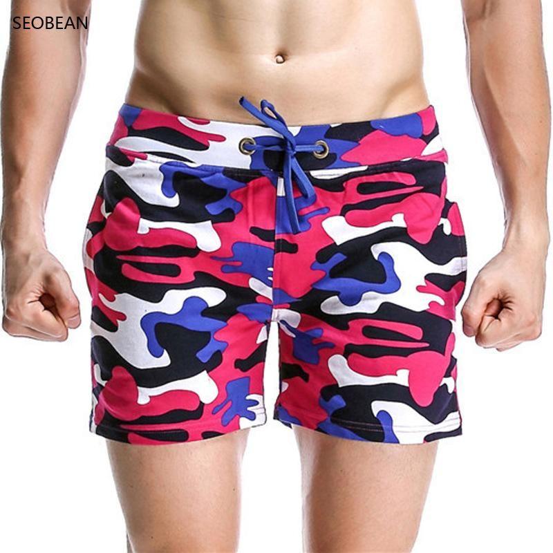 2018 Mężczyzna Mężczyzna Stroje Kąpielowe Swimsuit Męskie Bwilnięcia Kamuflaż Plaża Briefs Spodenki Masculina Sunga Sports Men Swimsuit