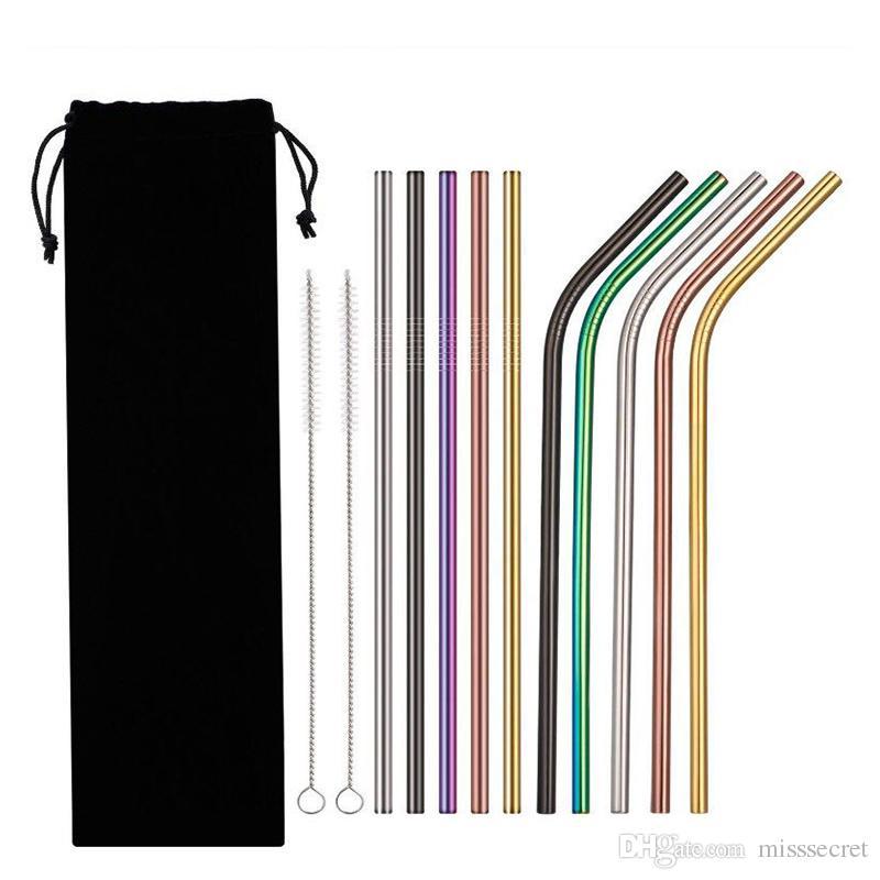 5 لون 14 قطعة / المجموعة غير القابل للصدأ 8.5 6PCS عازمة و 6pc على التوالي مع 2 فرش المقاصة قابلة لإعادة الاستخدام القش الشرب مع حقيبة سوداء
