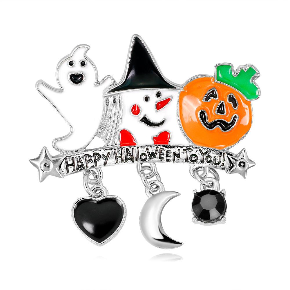 Halloween Gift Pumpkin Brooch Enamel Alloy Clothing Pin Cartoon Pumpkin Brooch Dress Accessories For Party
