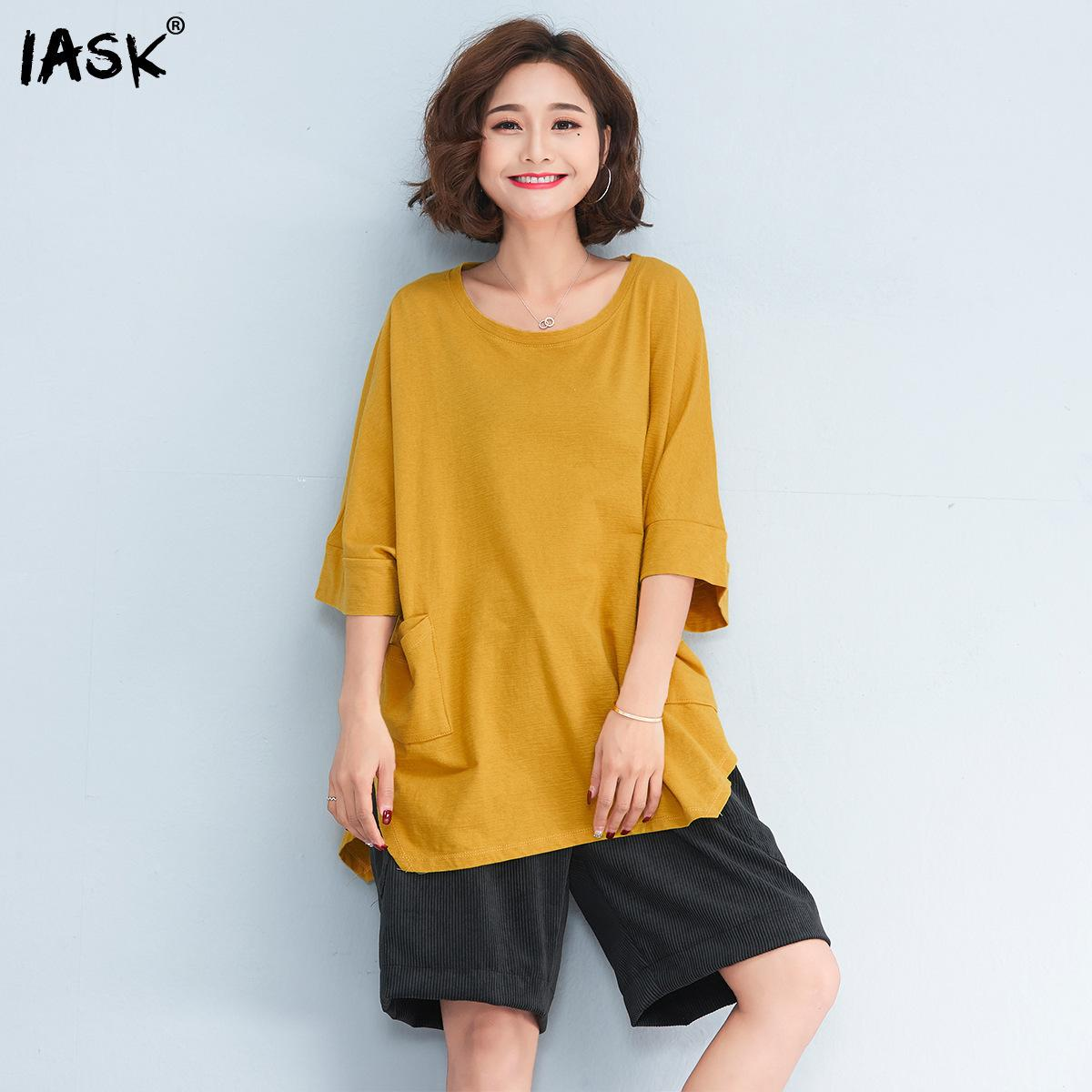 c7bf27996cbae SHENGPALAE 2018 New Summer Women Plus Size Tops Casual Oversized Loose  O-neck Batwing Sleeve Solid Yellow Female T-shirt QC245