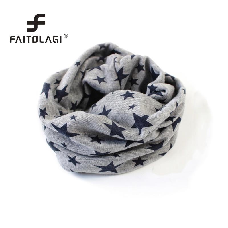 2017 Hot Autumn Winter Boys Girls Collar Baby Scarf Cotton O Ring Neck Scarves Elastic Star Prints Winter Neck Warmer For Kids