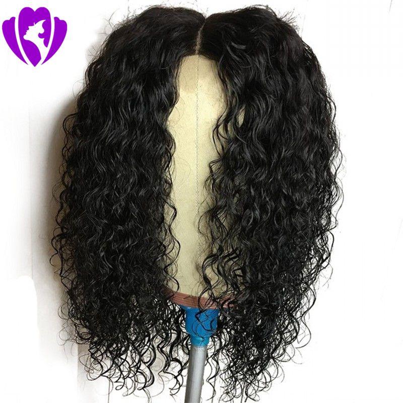 Da parte do meio Curto Kinky rendas frente encaracolado Perucas Pré arrancado com o cabelo do bebê funda Parte Curly cabelo sintético peruca para as mulheres negras
