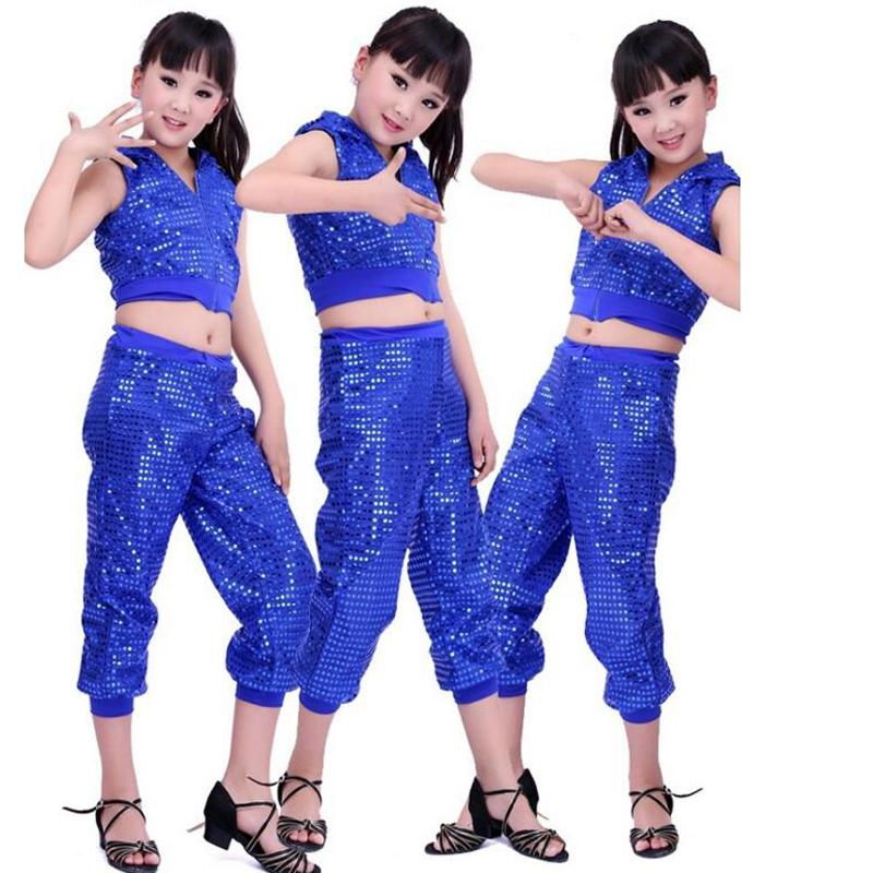 1b669f6fb15e 2019 Girls Sleeveless Sequined Jazz Dance Costumes Kids Modern Hip ...