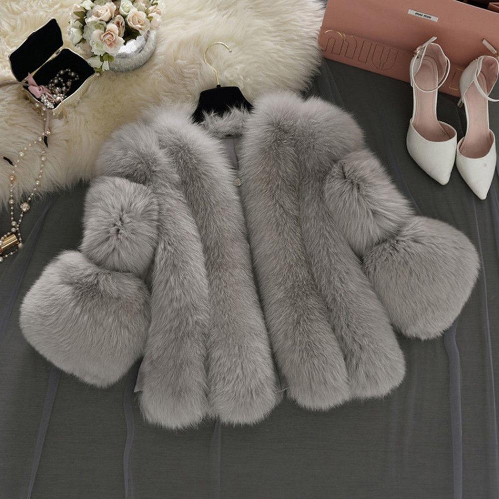Plus Size Women Winter Faux Fox Coats Fluffy Zipper Waistcoat Warm Gilet Short Shaggy Fur Cardigan Outerwear Slim Jacket Coat