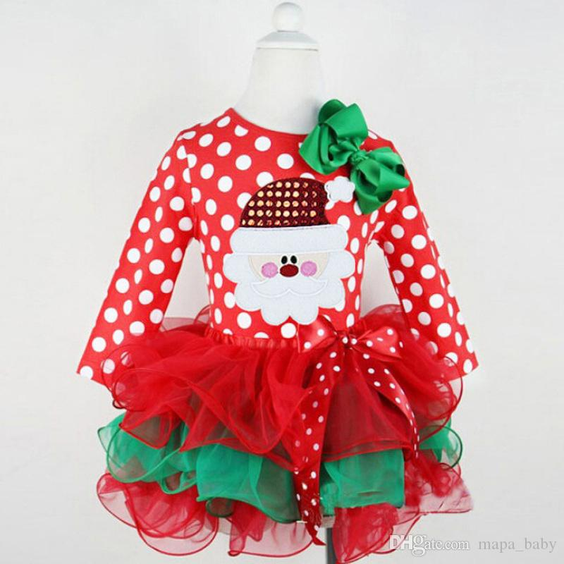 Girls Christmas Dress Baby Clothes Kids Holiday Clothes Children Dresses for Girl Santa Claus Snowman Printed Child Infant Lace TuTu Skirt