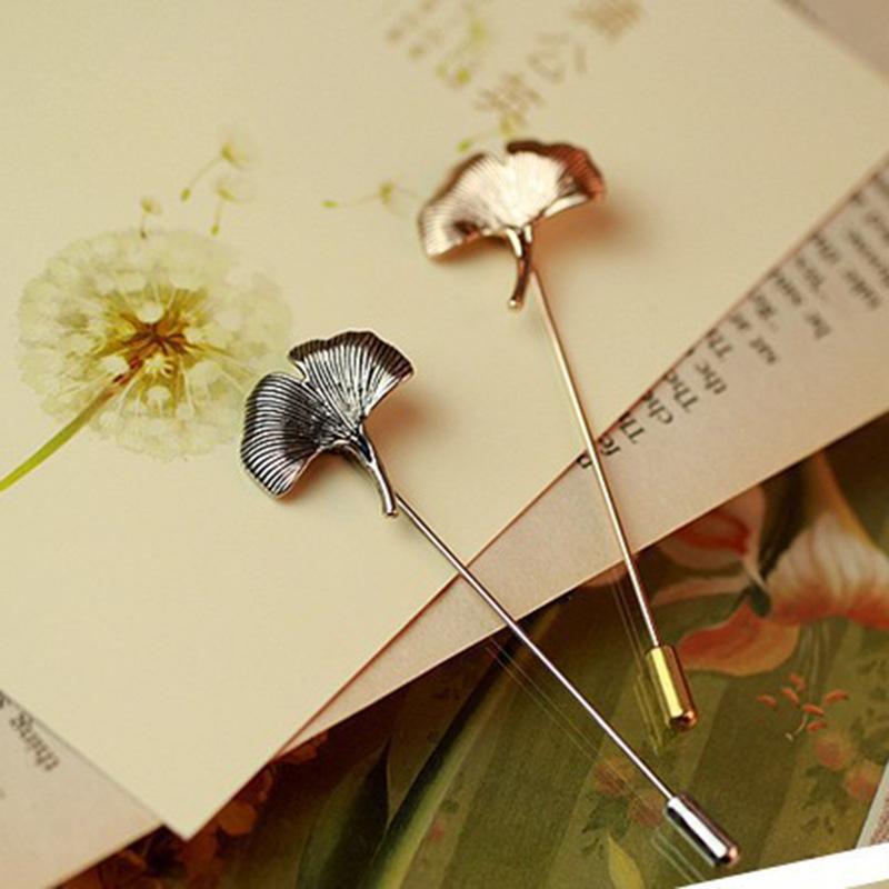 Vintage Brooches Unisex Collar Pins Ginkgo Biloba Leaf Lapel Pin Brooch Pins Men Flower Leaf Jewelry