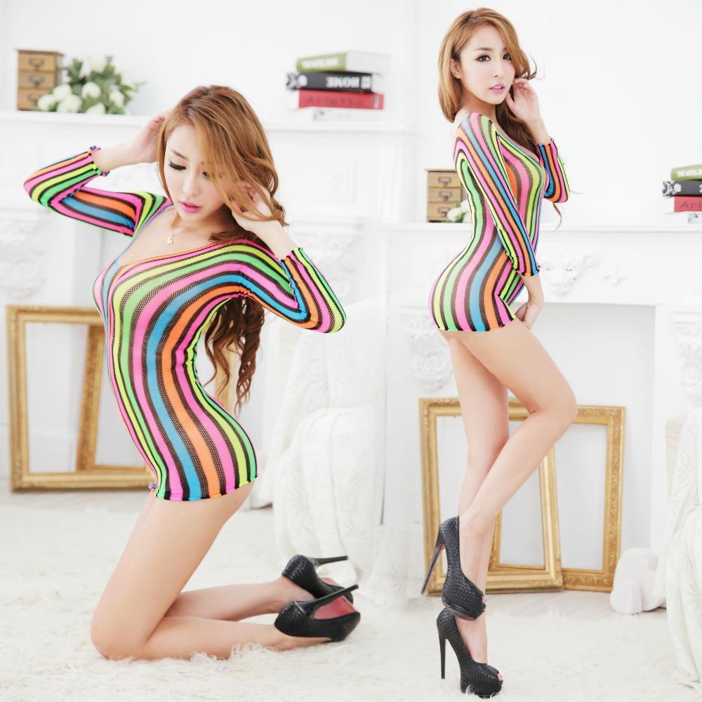 2017 женщины сексуальная красочные тела чулок сексуальное женское белье платье искушение полный рукав S926