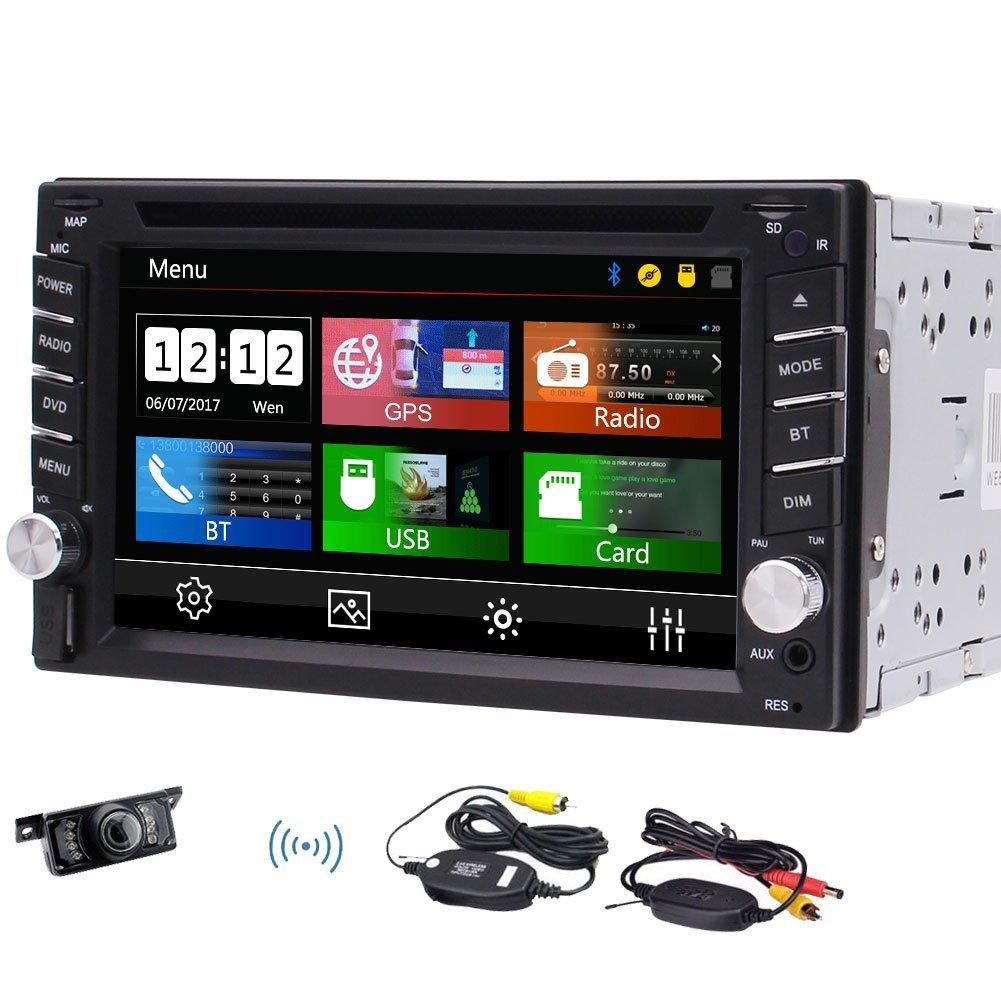 Eincar Auto Estéreo Autoradio Doble Din 6.2 '' Navegación GPS DVD / CD de video Reproducir Bluetooth Micrófono FM / AM Radio + Cámara Trasera Inalámbrica