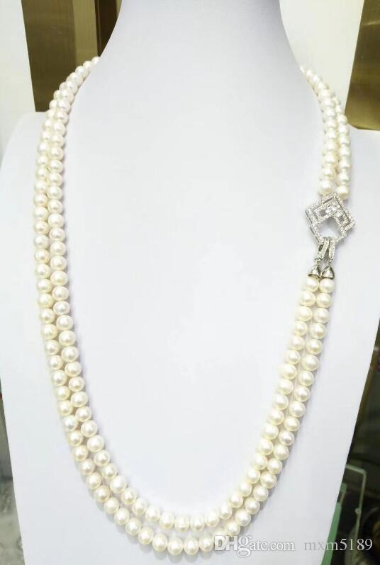 gorgeous  9-10mm  south sea white  pearl necklace