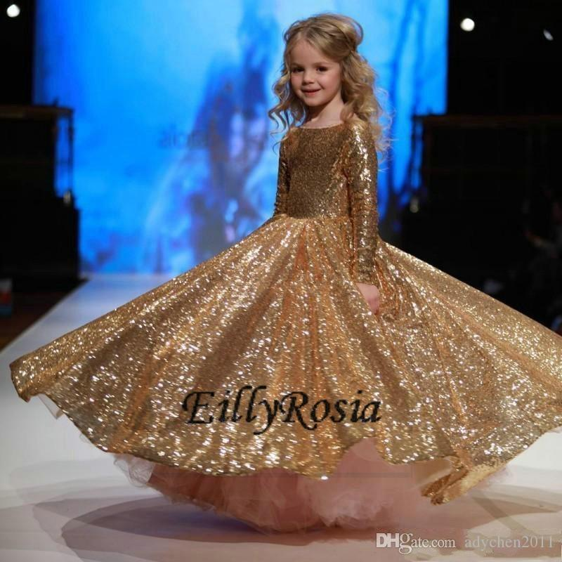 Gold Sequined Little Girls Pageant Desses 2018 Long Sleeves Sparkling Kids Evening Gowns Formal Wear Wedding Flower Girl Dresses for Prom