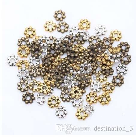 1000pcs branelli del distanziatore del fiore per monili che fanno il metallo rotondo fascini del Daisy Wheel 4mm monili d'argento del branello dell'oro del Tibetan Accessaories