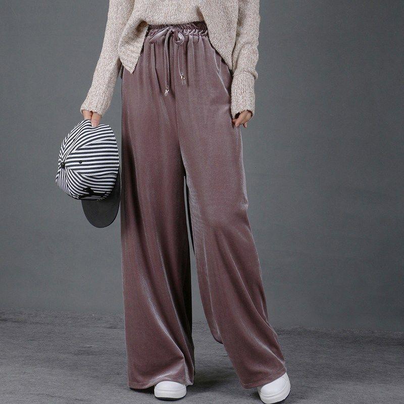 Spodnie Damskie Damskie Spodnie nóg 2017 Jesień Zima Wysoka Talia Vet Pant Palazzo Pleuche Casual Solid Heund-Pant Plus Size