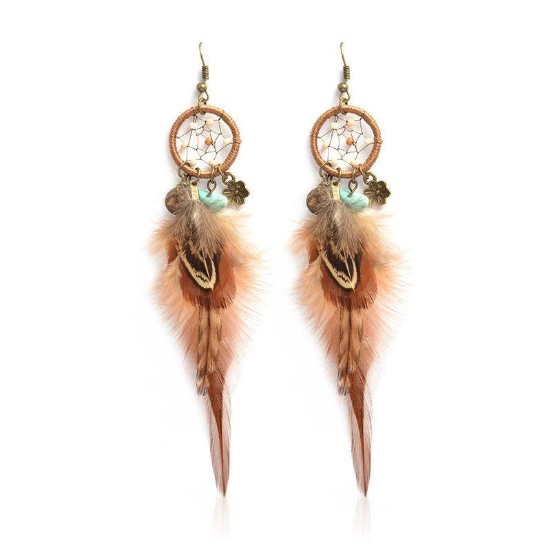 1pc 국립 바람 귀걸이 낭만주의 Dreamcatcher 귀걸이 여성을위한 깃털 드롭 귀걸이 독특한 우아한 패션 주얼리