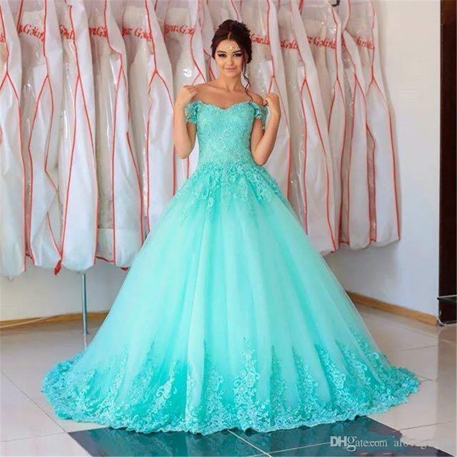 2018 nova linda turquesa quinceanera vestido de baile vestidos off ombro apliques de renda doce 16 trem da varredura plus size partido baile vestidos de noite