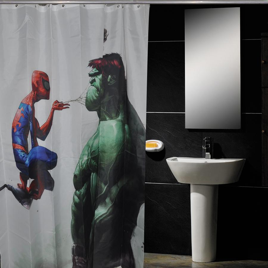 NR Iron Man Marvel Leagu Fodera per Tenda da Doccia in Tessuto Poliestere Impermeabile Tenda da Doccia per Bagno in Tessuto Tenda per Doccia 12 Ganci