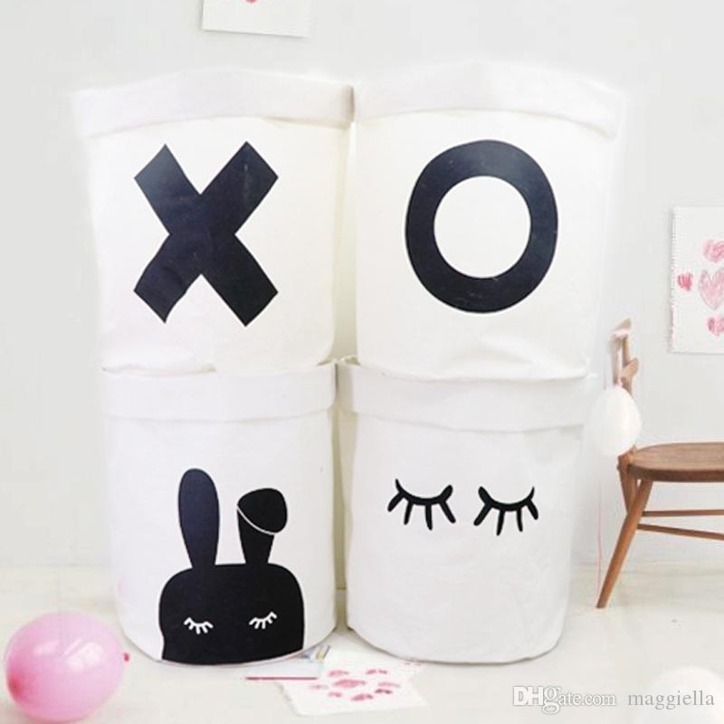3pcs/lot Nordic Style Cotton Linen Fabric Dirty Clothes Storage Barrel Laundry Basket Folding Portable Sundries Organizer Pouch 40*50cm