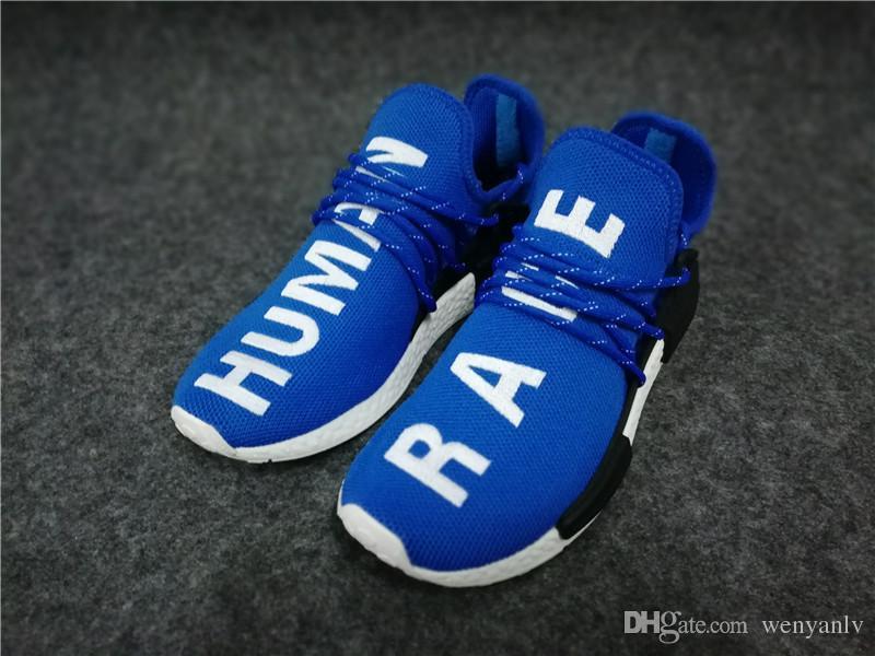 innovative design new styles lowest discount Acheter Chaussures De Course HUMAN RACE Bleu Vert Tricot Respirant Pharrell  Williams X Hommes Et Femmes Sport Sneakers Taille 36 47 De $55.84 Du ...