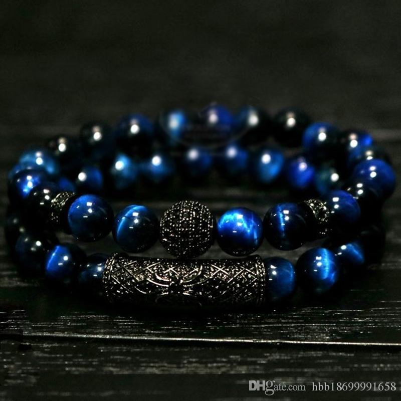 2pc / Set Natural Tiger Eye Perles Perles Bracelet Ensemble de Bracelet, Bijoux pour hommes et femmes, Matériel élastique Accessoires d'accessoires cadeau de la Saint-Valentin