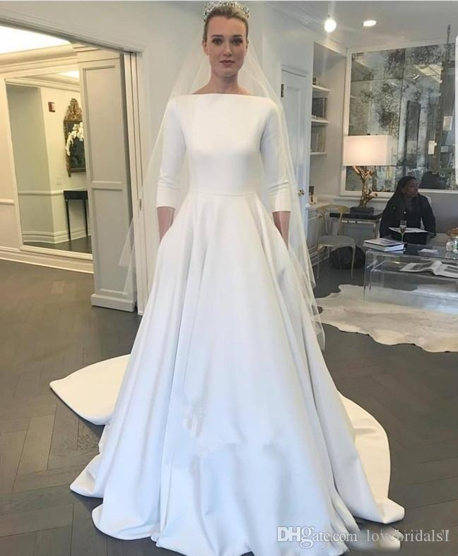 Elegant Beach A Line Wedding Dresses With Satin Jewel Neck Covered Button Up Back 3/4 Long Sleeves Sweep Train Garden Bridal Gowns