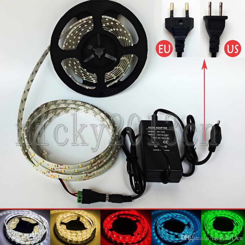 Tam Kiti 5 M 3528 LED Esnek Şerit Işık Bant Şerit 300 LEDS IP65 Su Geçirmez + 12 V 2A Güç Kaynağı + DC Konektörü