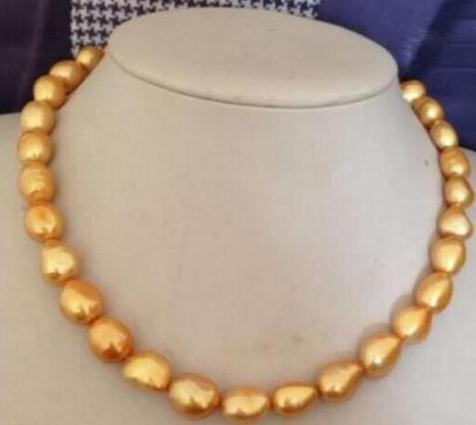 12-13 мм природных Южное море золото желтый жемчуг ожерелье 18 дюймов 14 K золото Застежка