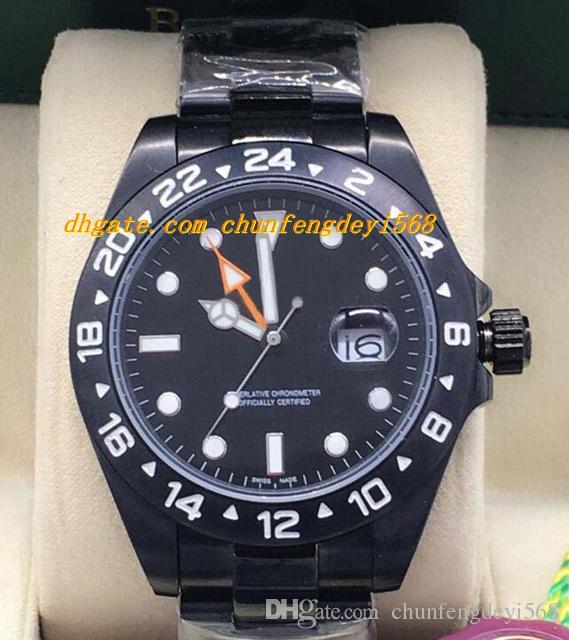 Luksusowe zegarki 2 Styl II Czarny PVD Ze Stali Nierdzewnej 216570 Polar Biały / Czarny Dial 42mm Automatyczne Moda Marka Zegarek Męski Zegarek