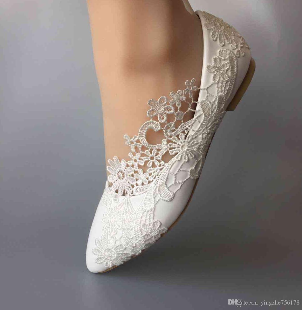 Women Wedding Shoes Waterproof Lace Bride Wedding Dresses Flat