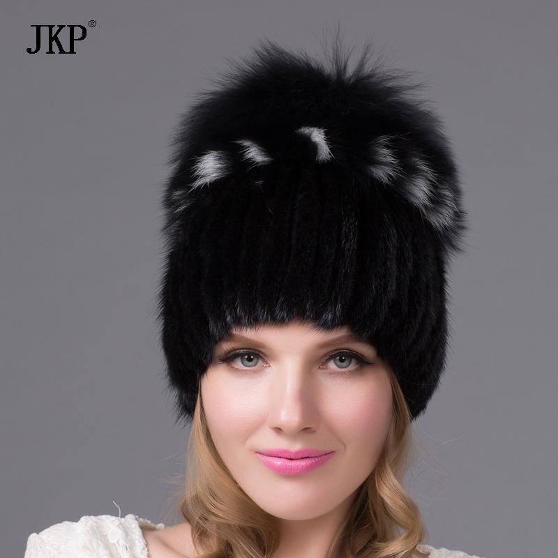 المرأة محبوك أنماط قبعة فرو المنك قبعة الإناث الفراء مع فوكس الفراء pompom بطانة النساء الشتاء قبعات الفتيات القبعات بيني DHY-25 D18110102