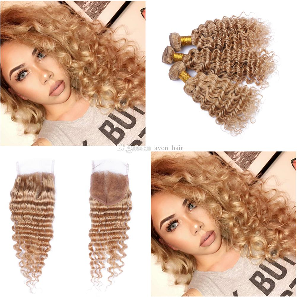 Strawberry Blonde 27 Deep Wave Hair Extensions With Closure Malaysian 9A Pure Color 27 Deep Curly Hair 3Bundles With Top Closure 4x4